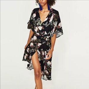 Zara asian crane print wrap dress